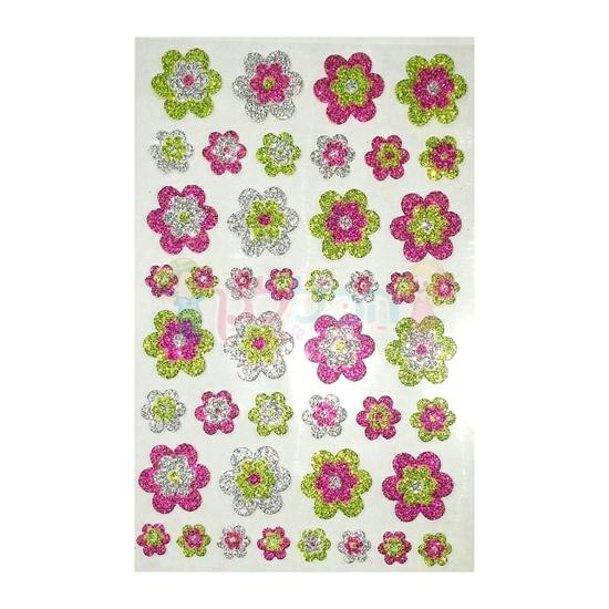 תמונה של מדבקות PUFFY עם גליטר - פרחים