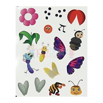 תמונה של מדבקות חרקים ופרחים להשלמה 10 דפים
