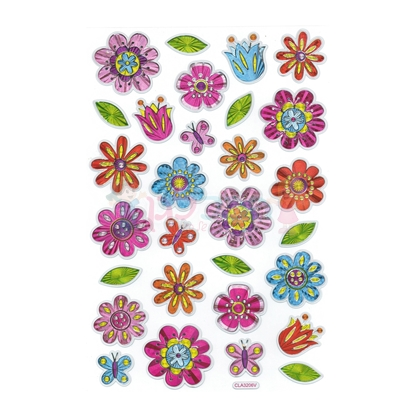 תמונה של מדבקות נוצצות מטאלי - פרחים