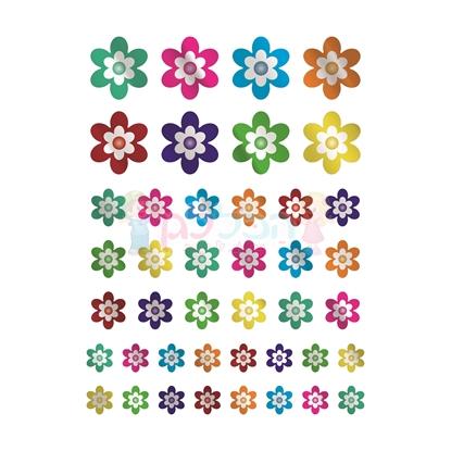 תמונה של מדבקות פרחים צבעוני מטלי 10 דפים