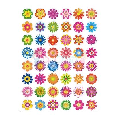 תמונה של מדבקות פרחים צבעוניים 10 דפים