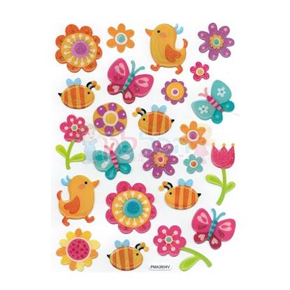 תמונה של מדבקות קריסטל אפרוחים פרחים ופרפרים