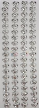 """תמונה של מדבקות אבני קריסטל ארוך - לבבות כסף מק""""ט GM1127"""