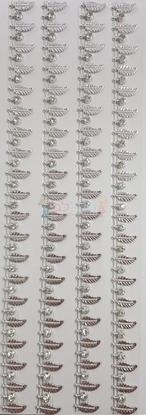 """תמונה של מדבקות אבני קריסטל ארוך - עיטורים עלים כסף מק""""ט GM1125"""