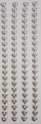 """תמונה של מדבקות אבני קריסטל ארוך - לבבות כסף מק""""ט GM1121"""