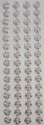 """תמונה של מדבקות אבני קריסטל ארוך - פרחים כסף מק""""ט GM1105"""