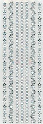 """תמונה של מדבקות אבני קריסטל ארוך - כסף  מק""""ט: GM116"""