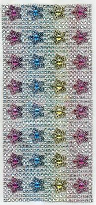 """תמונה של מדבקות אבני קריסטל רשת פרחים צבעוני  מק""""ט: GM145"""