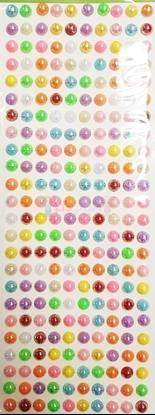 """תמונה של מדבקות אבני קריסטל ארוך - עיגולי פנינה גדול צבעוני מק""""ט: GM188"""