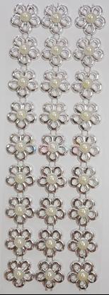"""תמונה של מדבקות אבני קריסטל ארוך - פרחים כסף עם פנינה מק""""ט GM1131"""