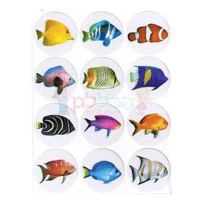 תמונה של מדבקות דגים + גליטר פרוצס 10 דף