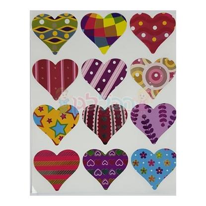 תמונה של מדבקות פרוצס לבבות טקסטורה צבעוני 10 דף
