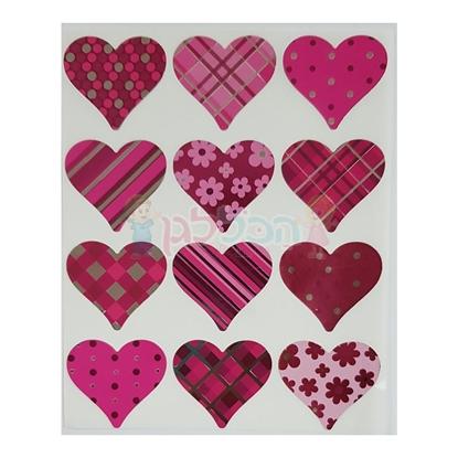 תמונה של מדבקות פרוצס לבבות מטלי ורוד 10 דף