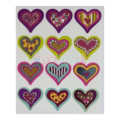 תמונה של מדבקות פרוצס לבבות מטלי צבעוני 10 דף