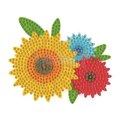 תמונה של יצירה הדבקת יהלומים פרחים צבעוניים