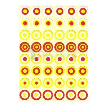 תמונה של מדבקות עיגול בעיגול אדום צהוב 25 דף