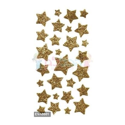 תמונה של מדבקות גליטר כוכבים זהב