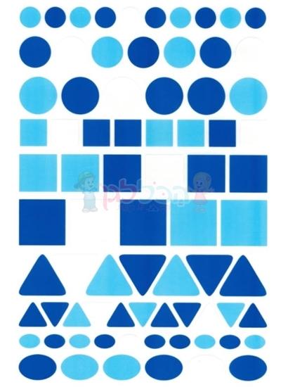 תמונה של מדבקות צורות הנדסיות כחול לבן גדול