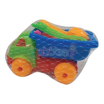 תמונה של מכונית ו-6 כלי חול