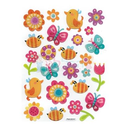 תמונה של מדבקות קריסטל פרחים ופרפרים